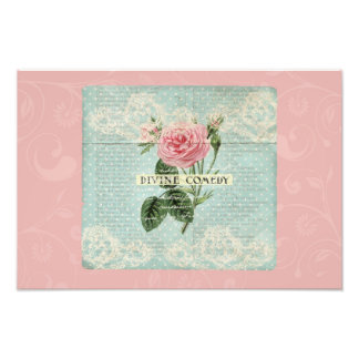 Vintage Pink Roses and French Writing Photograph