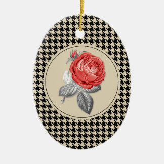 Vintage pink roses and houndstooth pattern christmas ornament