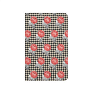 Vintage pink roses and houndstooth pattern journal