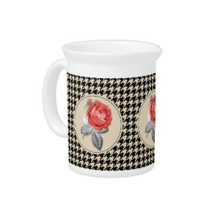 Vintage pink roses and houndstooth pattern pitcher