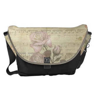 Vintage Pink Roses and Music Score Courier Bags