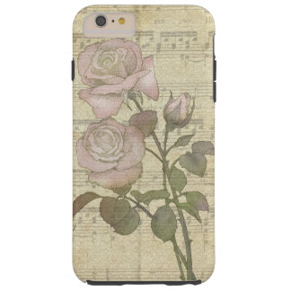 Vintage Pink Roses and Music Score Tough iPhone 6 Plus Case
