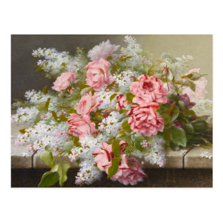 Vintage Pink Roses and White Lilacs Postcard