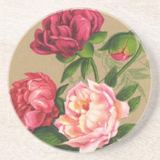 Vintage Pink Roses Beverage Coaster