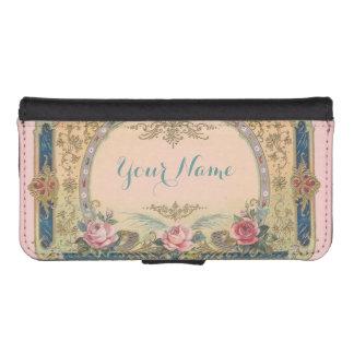 Vintage Pink Roses Blue Floral Antique Design iPhone SE/5/5s Wallet Case