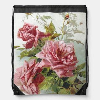Vintage Pink Roses Bouquet Drawstring Bag