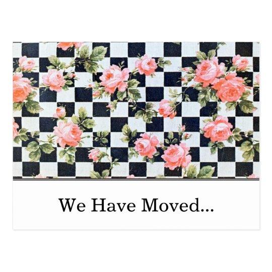 Vintage Pink Roses Change of Address Template Postcard