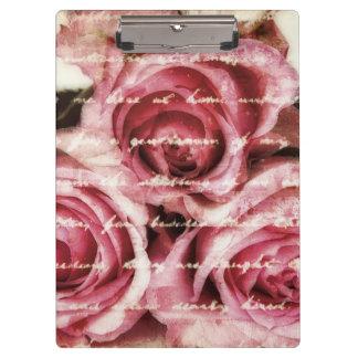 Vintage Pink Roses Clipboards