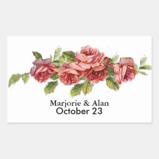 Vintage Pink Roses Favor Gift Bag Seal Rectangular Sticker