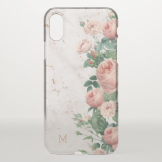 Vintage Pink Roses Floral Marble Custom Clear iPhone X Case