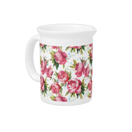 Vintage pink roses floral pattern drink pitcher