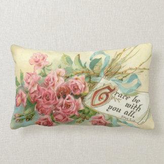 Vintage Pink Roses Flowers Scripture Verse Lumbar Cushion
