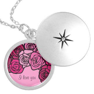 """Vintage pink roses """"I love you"""" necklace"""