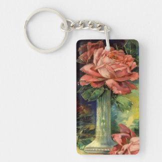 Vintage Pink Roses Single-Sided Rectangular Acrylic Key Ring