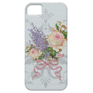 Vintage Pink Roses Lavender Grey iPhone 5 cover