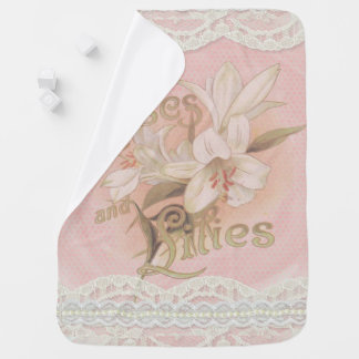 Vintage, Pink Roses, Lilies, and Lace, Custom Baby Blanket