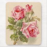 Vintage pink roses mousemats