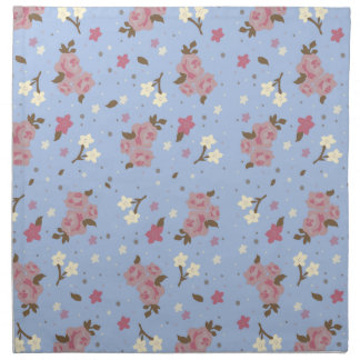 Vintage Pink Roses on baby blue background Napkin