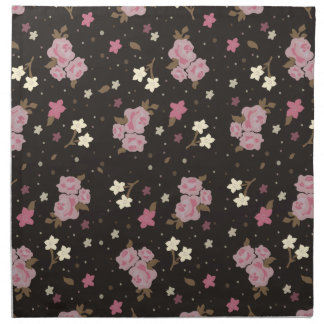 Vintage Pink Roses on dark brown background Napkin