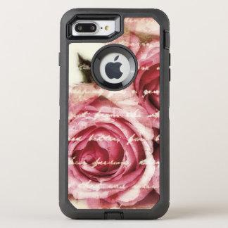 Vintage Pink Roses OtterBox Defender iPhone 8 Plus/7 Plus Case