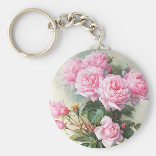 Vintage Pink Roses Painting Key Chains