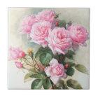 Vintage Pink Roses Painting Tile