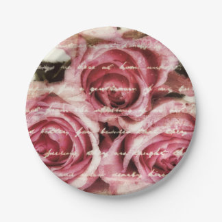 Vintage Pink Roses 7 Inch Paper Plate