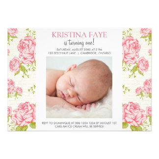 Vintage Pink Roses Photo Birthday Party Invitation
