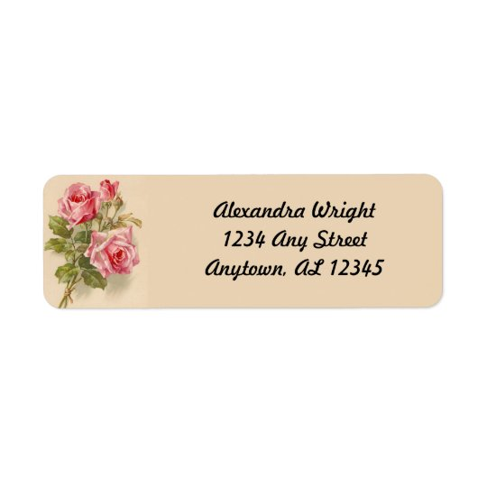 Vintage Pink Roses Return Address Label