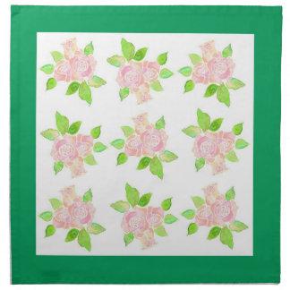 Vintage Pink Roses Table Napkin or Serviette