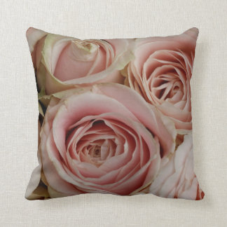 Vintage Pink Roses Throw Pillow