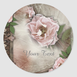 Vintage Pink Roses Wedding Gift Seal