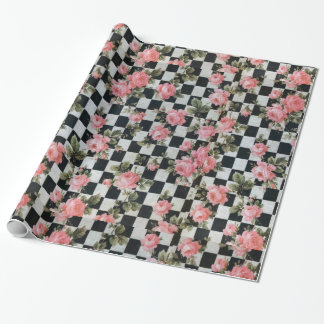 Vintage Pink Roses with Black and White Wrapping Paper