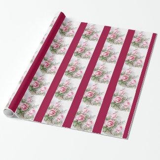 Vintage Pink Roses Gift Wrap Paper