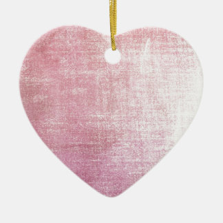 Vintage pink rustic silk fabric worn out Double-Sided heart ceramic christmas ornament