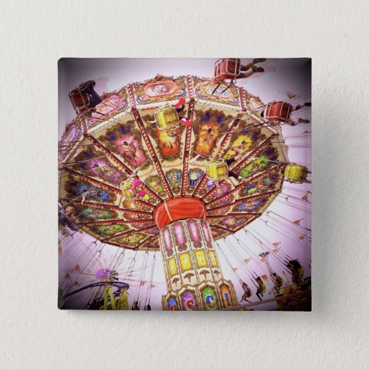 Vintage pink sky carnival swing ride photo button