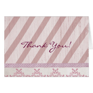 Vintage Pink Stripe Thank You Card