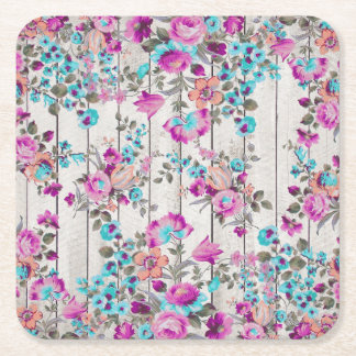 Vintage pink teal flowers white rustic wood panels square paper coaster