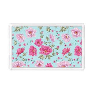 Vintage pink teal spring floral pattern