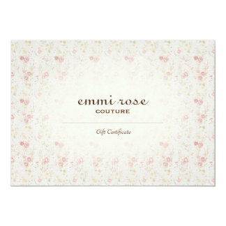 Vintage Pink Tiny Rose Print Gift Certificate 13 Cm X 18 Cm Invitation Card