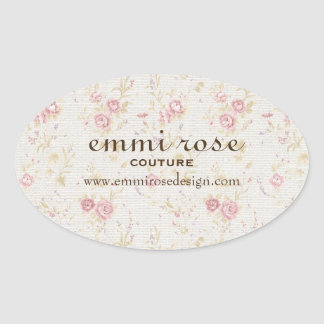 Vintage Pink Tiny Rose Print Oval Sticker