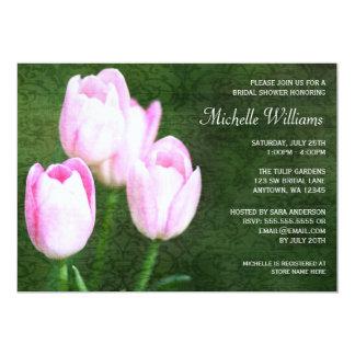 Vintage Pink Tulips Bridal Shower Card
