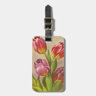 Vintage Pink Tulips Luggage Tag