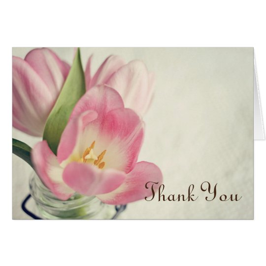 Vintage Pink Tulips Mason Jar Thank You Card