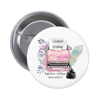 Vintage Pink Typewriter Creative Writing 6 Cm Round Badge