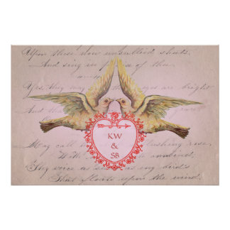 Vintage Pink Valentine Love Doves and Heart Poster