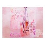 Vintage Pink Watercolor Ballerina Dancer Ballet