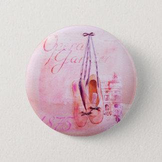 Vintage Pink Watercolor Ballerina Dancer Ballet 6 Cm Round Badge