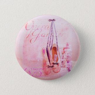 Vintage Pink Watercolor Ballerina Dancer Ballet 6 Cm Round Badge