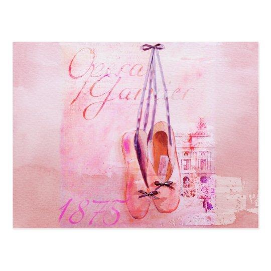 Vintage Pink Watercolor Ballerina Dancer Ballet Postcard